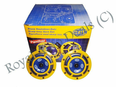 Genuine Hella Yellow Panther Horn Set 12V (Pair) Car Suv Boat Truck,jeep