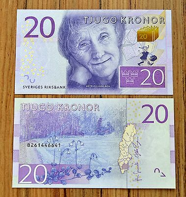 Sweden 20 Kronor 2015  Pick # 69 Unc Currency  Banknote Paper Money