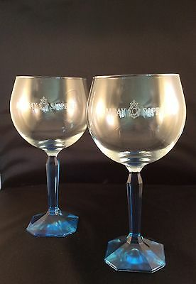BOMBAY SAPPHIRE GIN BLUE TINTED SQUARE BASE BALLOON GLASS x 2 (TWO) -  NEW