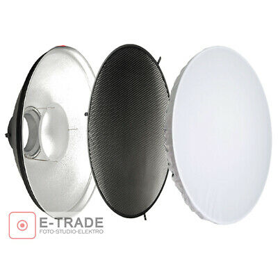 """Studio Beauty Dish 42cm 16inch Bowens S Fit Honeycomb Silver interior 16.5"""""""