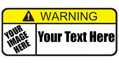 """Custom Warning Labels 4.5"""" x 2"""" Choose Your Own Text and Design Buy 1 Get 1 Free"""