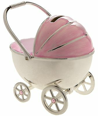 Silver Plated Pram Money Box Baby Gift In Pink Ideal For Girls