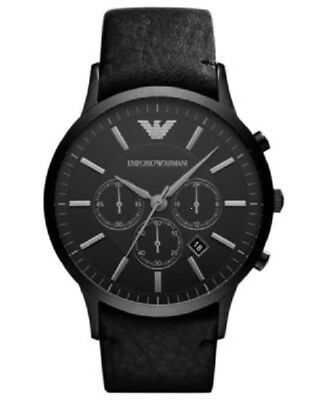 Armani Mens Chronograph Watch Ar2461 Black Dial Leather Strap, Coa, Rrp £329.00