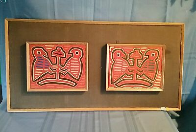 Pair of Vintage Framed South American Mola ~ Birds