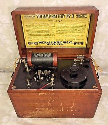 Voltamp Battery No. 3 Wood Case w/ Accessories Voltamp Electric Mfg Co Baltimore