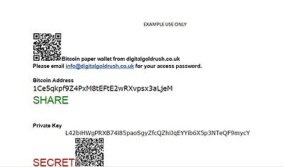 Bitcoin Paper Wallet -Bitcoin Cold Storage - Perfect For Beginners in Bitcoin.