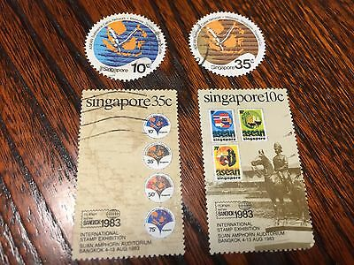 Vintage Collection Lot of 4 Stamps from Singapore Postage, Circle Shape