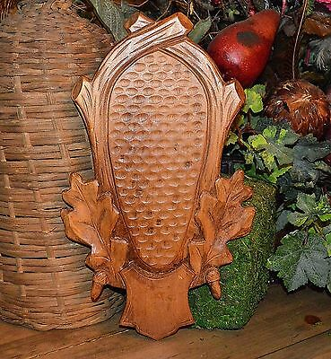 Vintage Carved Wood German Shield Plaque for Deer Antler Trophy Mounting