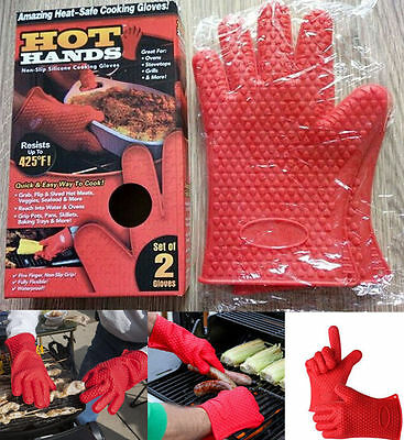 1 Pair Red Hot Hands Non Slip Silcone Cooking Grill BBQ Cooking Gloves UK STOCK