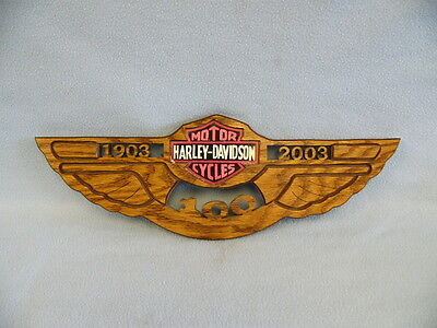 "Harley Davidson 100 Year Wooden Plaque 16 3/4"" x 5 1/2"""
