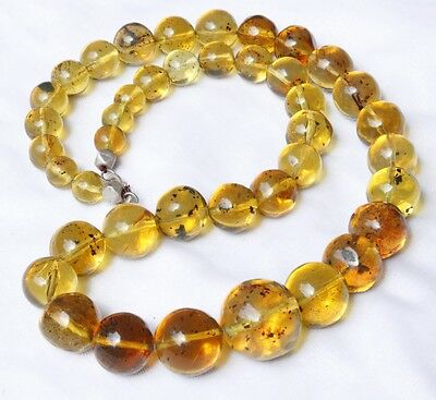 ++ Mexican Amber Sphere Bead Necklace 123g