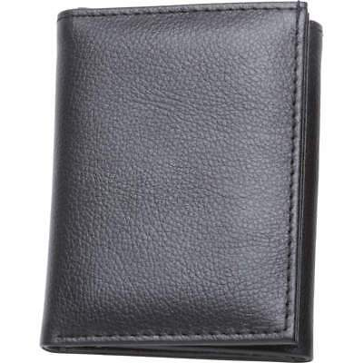 Mens Black Solid Buffalo Leather Tri-Fold Casual Dress Heavy Duty Wallet