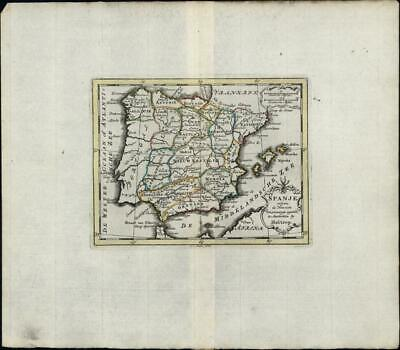 Spain Portugal Spanje Espagne c.1780 Holtrop Dutch old antique miniature map