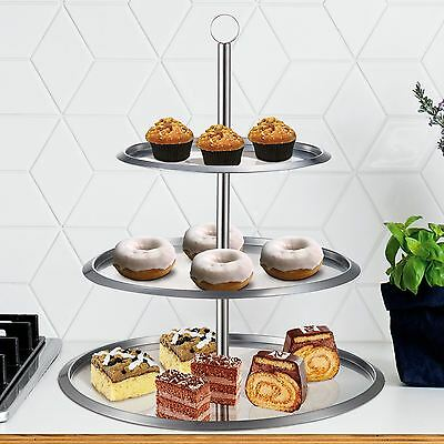 3 Tier Round Circle Stainless Steel Cupcake Stand Party Wedding Cup Cake Holder