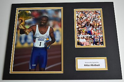 Kriss Akabusi SIGNED autograph 16x12 photo display Olympics 1992 AFTAL & COA