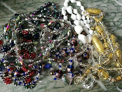 Job Lot Of Vintage Glass Bead Necklaces For Spare Repair