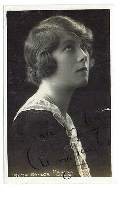 Alma Taylor Theatre &  film Actress Hand Signed Vintage Postcard 5 x 3