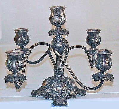 Antique PAIRPOINT QUADRUPLE SILVER PLATE 5 ARM CANDELABRA Ornate Romantic