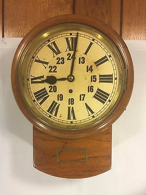 Antique English Fusee Wall Clock Great Wood Case Time Only Runs Beautiful Case