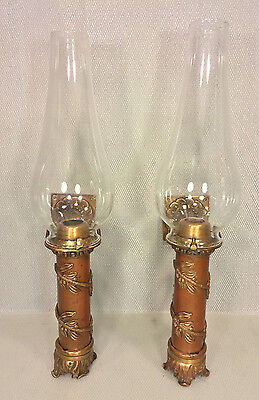 Antique Pair of Bronze & Brass Wall Sconces with Glass Flutes Spring Loaded Adj