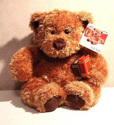 """GUND 1999 """"READ"""" the Chapters Bear #4401 10"""" sitting with Glasses, Books & Tags"""