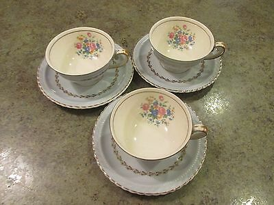 MONTICELLO Tea Cup & Saucer Set of 3 Dinner Ware Made in USA - PALE BLUE