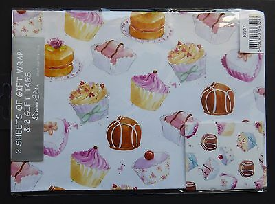 2 Sheets Simon Elvin CUPCAKE Gift Wrap Matching Tags Birthday Wrapping Paper