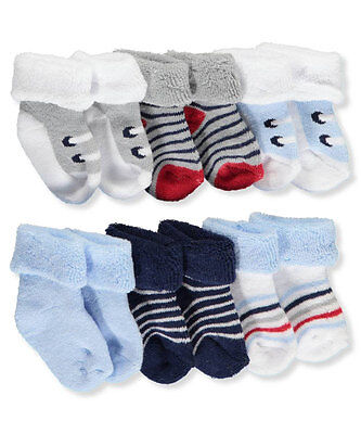 """Luvable Friends Baby Boys' """"End Zone"""" 6-Pack Socks"""