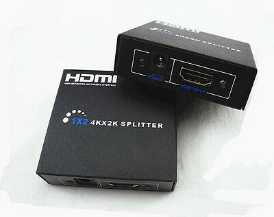 UHD 1x2 Port HDMI Switch Splitter Repeater Amplifier 3D v1.4 1 in 2 Out 4K