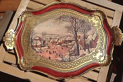 Vintage Decorative Florentine Wooden Serving Tray Made In Italy