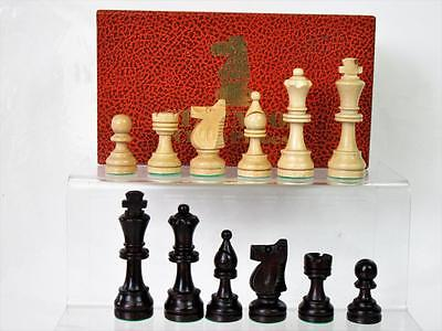 VINTAGE WOOD STAUNTON STYLE CHESS MEN SET King 72 mm + IN ORIGINAL CARDBOARD BOX