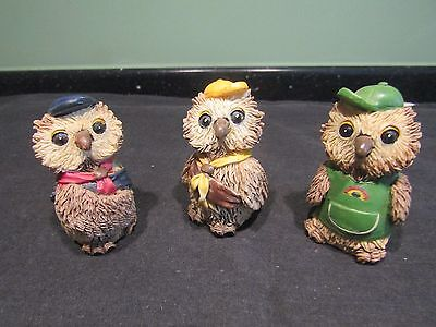 FULL SET OF 1990s OWL FIGURINES - GIRL GUIDE, BROWNIE & RAINBOW IN UNIFORMS VGC