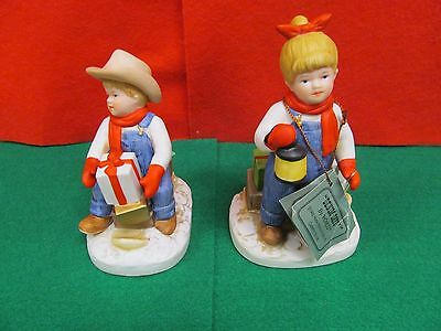 "HOMCO Denim Days ""Holiday Sleds"" Figurine Set Item #1528"