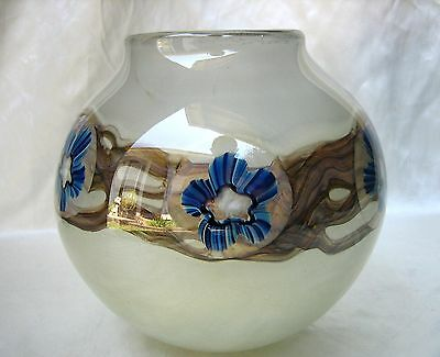 2003 Robert Eickholt Studio Art Glass Ball Vase Signed Numbered
