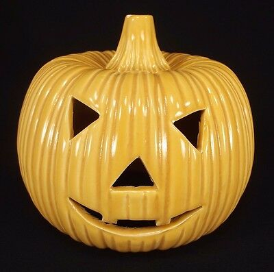 Vintage Halloween Ceramic Jack-O-Lantern Pumpkin Light
