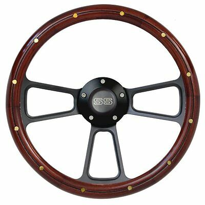 """14"""" Mahogany Steering Wheel w/ SS Horn and Brass Rivets for Chevelle Super Sport"""