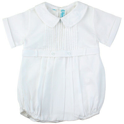 Feltman Brothers Infant Boys White Belted Romper NWT Christening