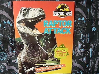 Jurassic Park Raptor Attack. Includes 3D Poster & Glasses. Random House. 1993.