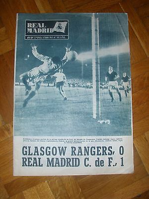 Rare 1963 EUROPEAN CUP Real Madrid v Glasgow Rangers (2nd Leg)