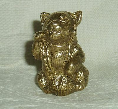 Russian Сollectible Decorative Brass Thimble Kitten with ball