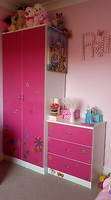 girls pink/white 3 piece bedroom furniture wardrobe, 3chest draws, bedside table