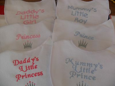 Personalised embroidered  mummy daddys boy girl prince/ess bib or blank