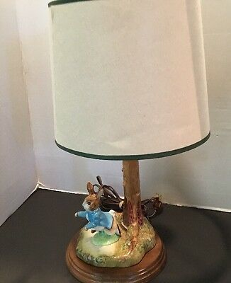 "Beswick Beatrix Potter Tree Lamp Base with Peter Rabbit Figurine 17"" Works"