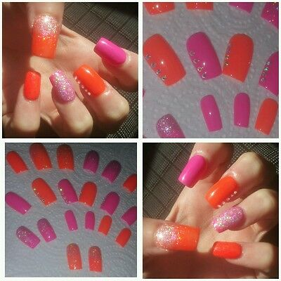 Summer Orange & Hot Pink with Silver Holo Glitter & Gems x 20 Square Nails