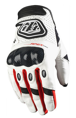 2018 Troy Lee Designs Tld Red White Black Leather Apex Pro Offroad Gloves Mx 2Xl