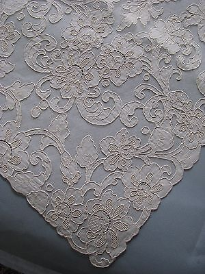 "ALENCON LACE RUNNER DRESSER SCARF FRENCH VINTAGE 16"" x 42"" WHITE  EXCELLENT"