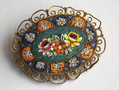 Antique Italian filigree micro mosaic brooch floral design & millefiori border