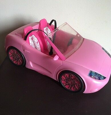 """Barbie Pink Glam Convertable Auto Sports Car 14"""" Mattel 2010 Baby Pink Toy"""