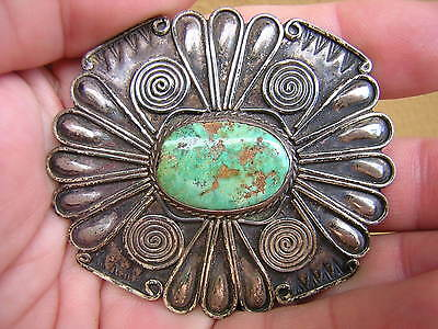 Big Signed Vintage Sterling Silver Native American Indian Pin Brooch W Turquoise