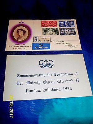 1953 Kuwait Registered Illustrated Coronation Queen Elizabeth Ii First Day Cover